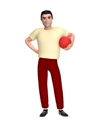 Man holding ball in hand 3D Illustration