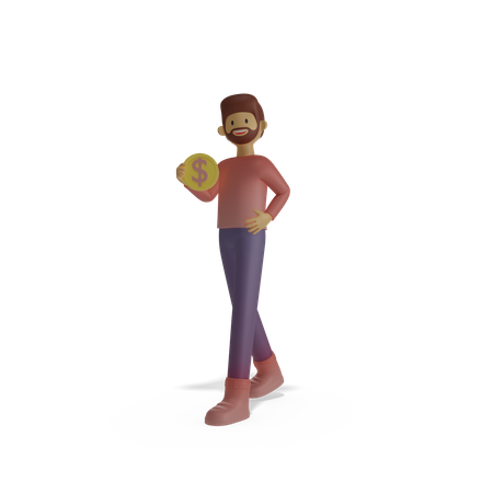 Man holding coin in hand 3D Illustration