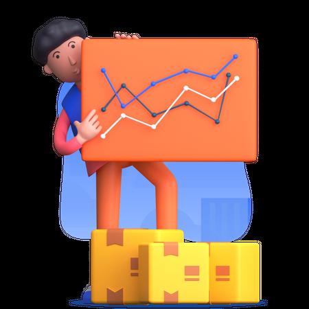 Man holding delivery report 3D Illustration
