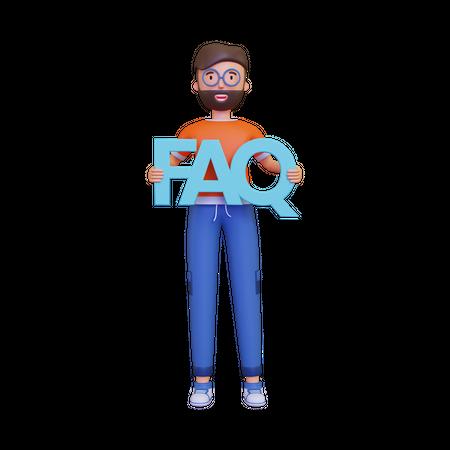 Man holding FAQ 3D Illustration