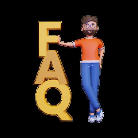 Man holding FAQ banner 3D Illustration
