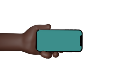 Man Holding hand showing black mobile phone with blank screen
