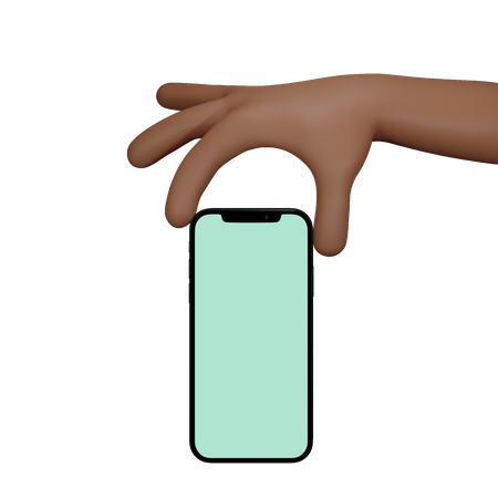 Man Holding hand showing black mobile phone with blank screen 3D Illustration