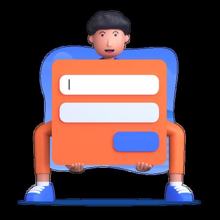 Man holding login form 3D Illustration