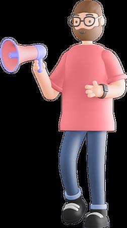 Man holding megaphone 3D Illustration