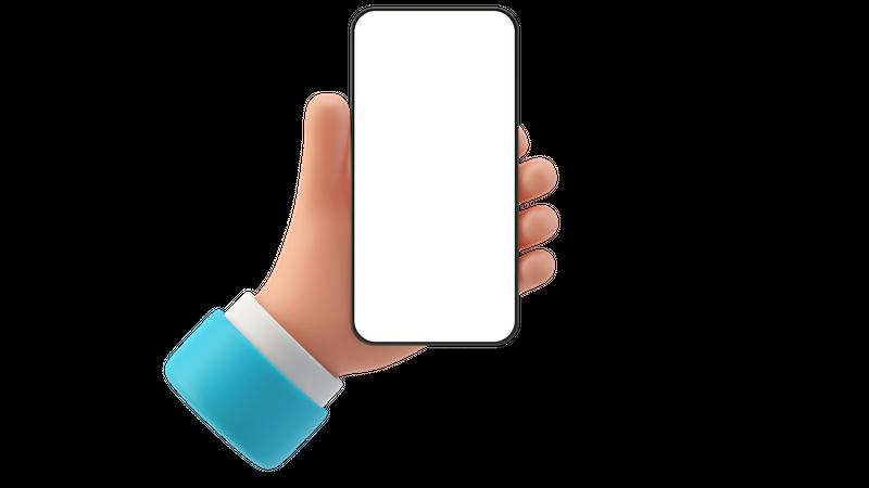 Man holding mobile 3D Illustration