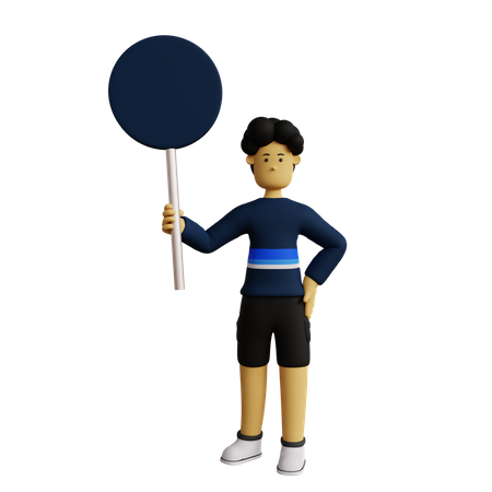 Man holding Signboard 3D Illustration
