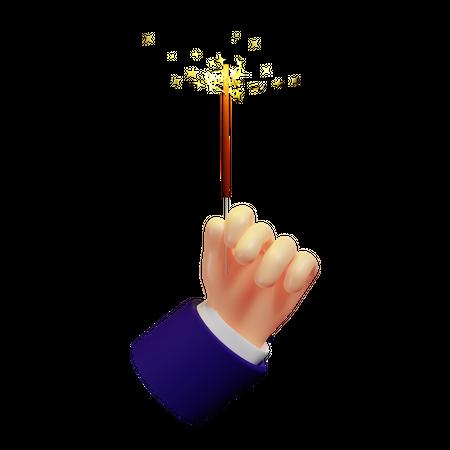 Man Holding Sparklers 3D Illustration