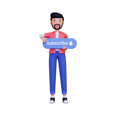 Man holds the subscribe button while pointing 3D Illustration