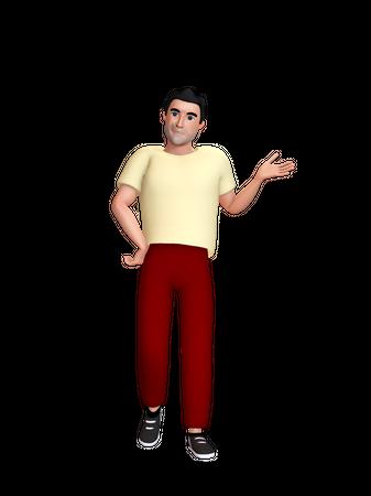 Man indicating something 3D Illustration