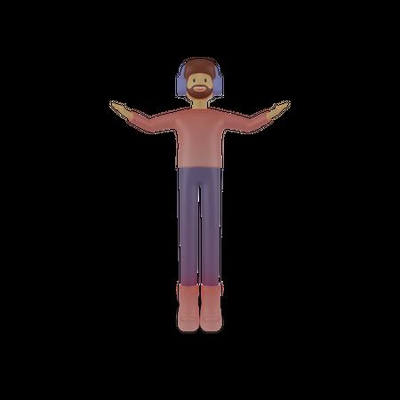 Man listening music 3D Illustration