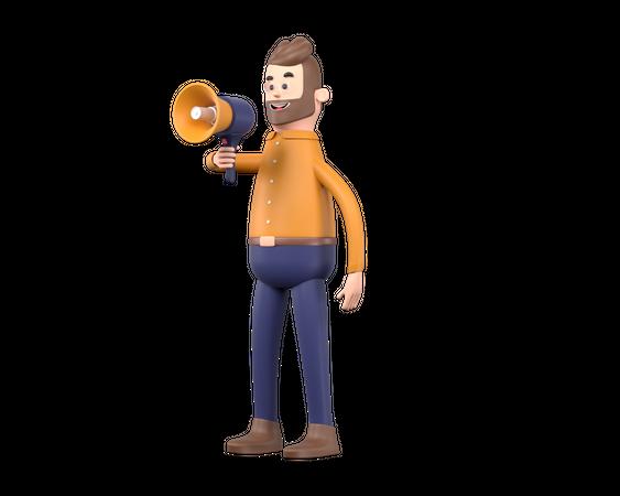 Man making announcement using megaphone 3D Illustration