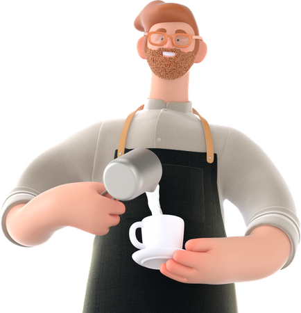 Man making coffee 3D Illustration