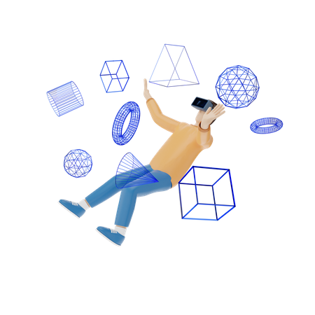 Man making design using virtual reality 3D Illustration