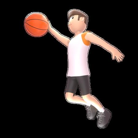 Man playing basketball 3D Illustration