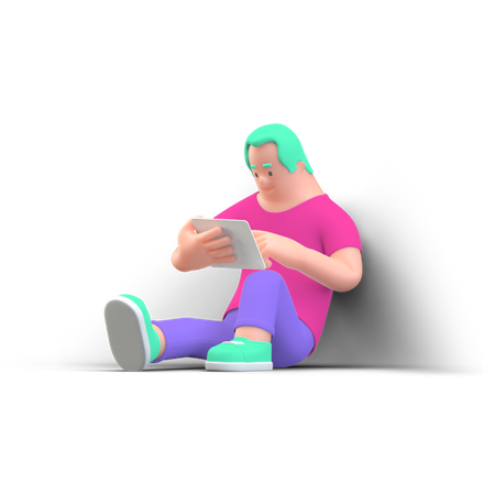 Man reading book 3D Illustration