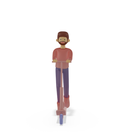 Man riding scooter 3D Illustration