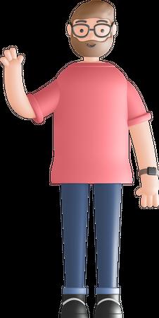 Man saying hello 3D Illustration