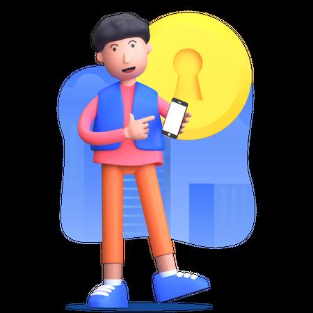 Man setting account password on mobile 3D Illustration