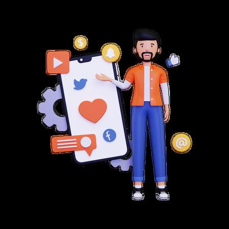 Man showing Mobile marketing 3D Illustration