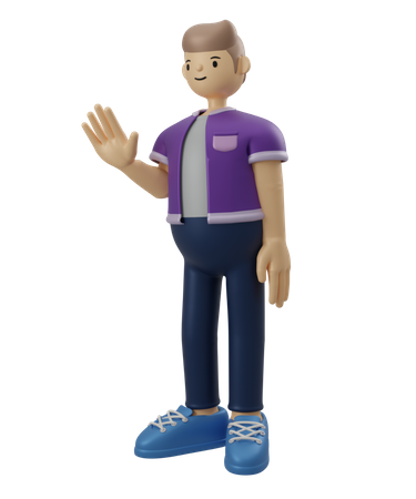 Man showing stop gesture 3D Illustration