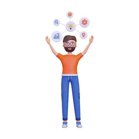 Man showing the mind map 3D Illustration