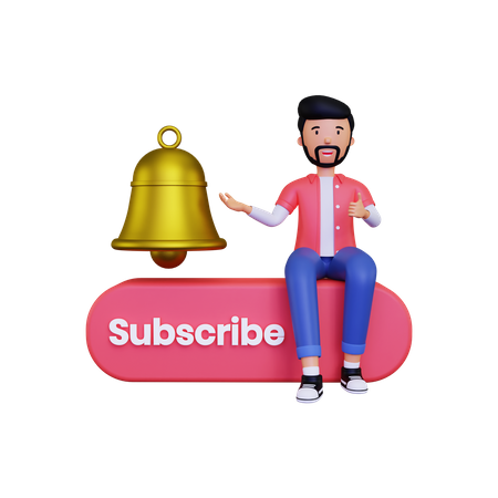 Man shows the notification bell 3D Illustration