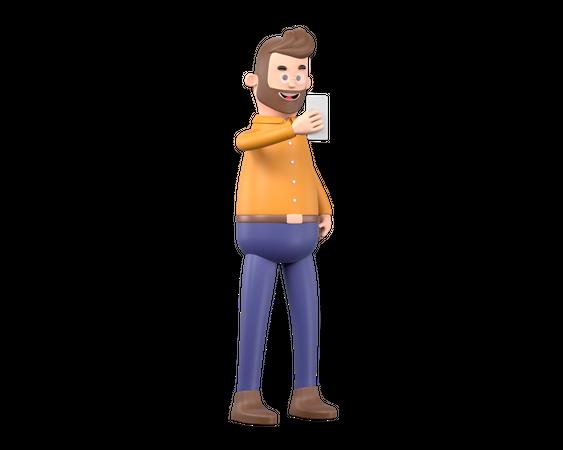 Man taking selfie 3D Illustration