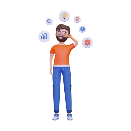 Man thinking about mind map 3D Illustration