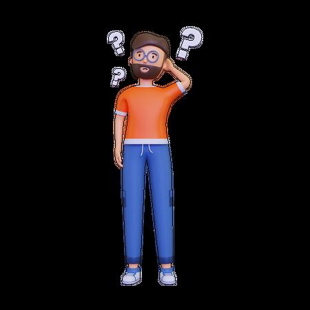 Man Thinking Question Mark 3D Illustration