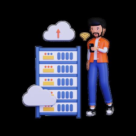 Man uploading data on server 3D Illustration