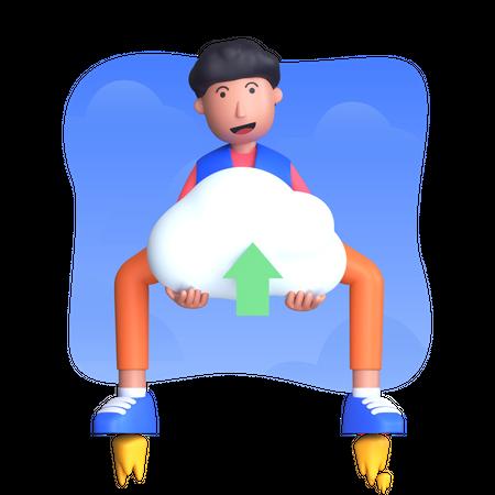 Man uploading data to clod 3D Illustration