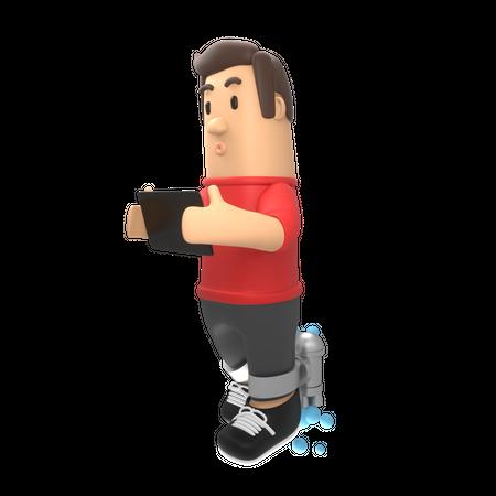 Man using tablet 3D Illustration