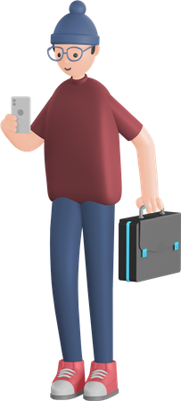 Man walking holding mobile and briefcase 3D Illustration