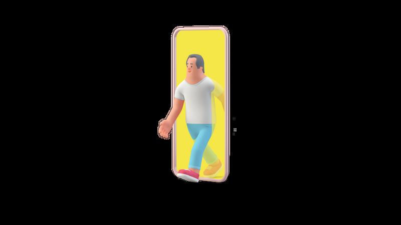 Man walking out of smartphone 3D Illustration
