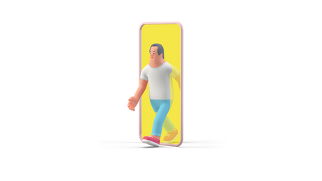 Man walking out of smartphone