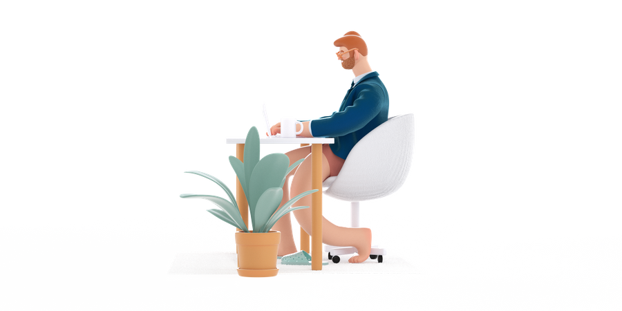Man working from home 3D Illustration