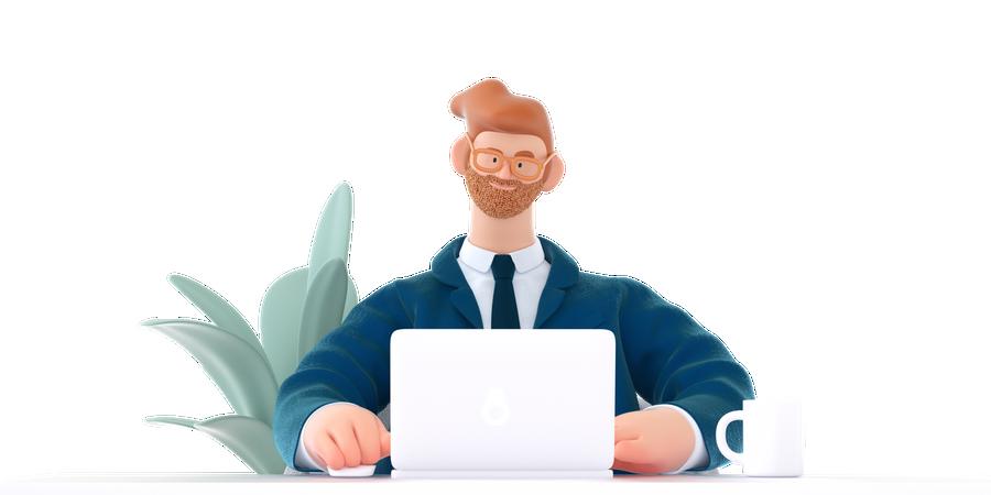 Man working on laptop 3D Illustration