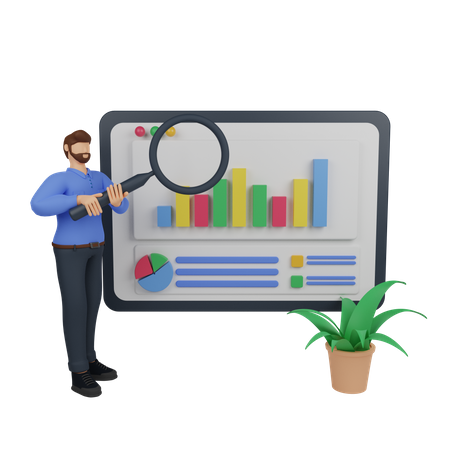 Marketing research with man holding a magnifying glass 3D Illustration