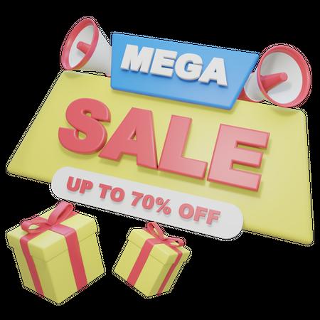 Mega Sale 3D Illustration