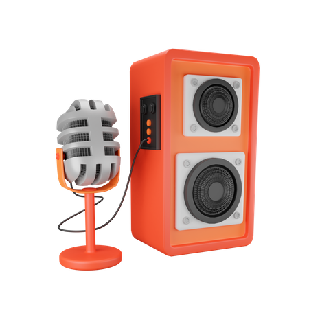Microphone And Speaker 3D Illustration