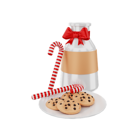 Milk and Cookie 3D Illustration