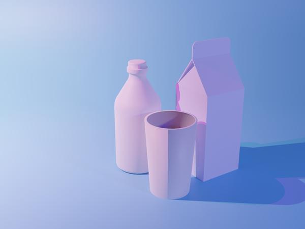 Milk Packages 3D Illustration