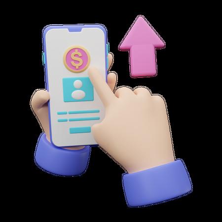 Mobile banking 3D Illustration