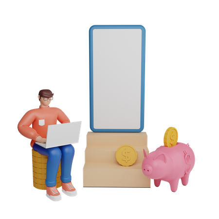 Mobile finance app 3D Illustration