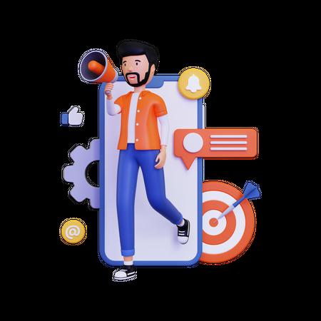 Mobile marketing with holding megaphone loudspeaker and dartboard 3D Illustration
