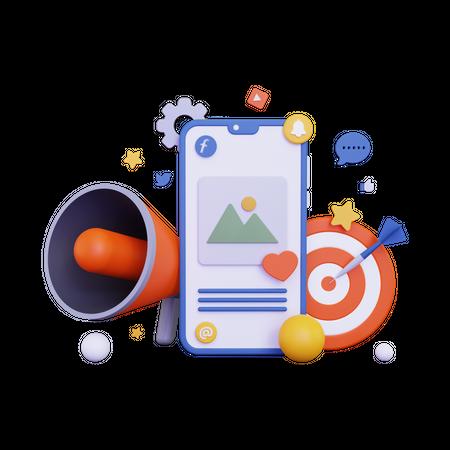 Mobile marketing with loudspeaker 3D Illustration