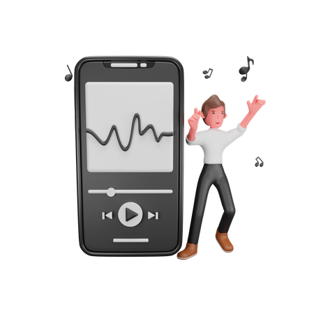 Mobile Music Player 3D Illustration