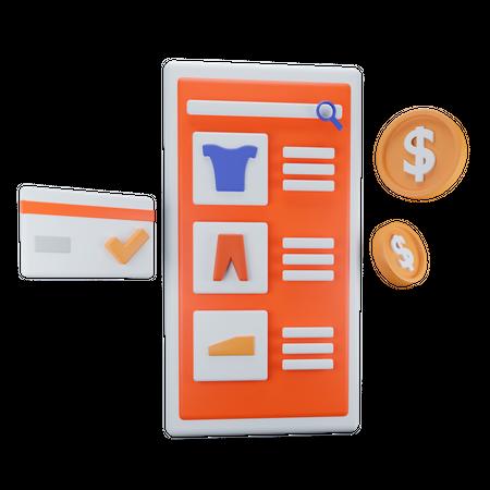 Mobile Shopping 3D Illustration