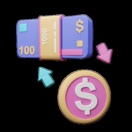Money exchange 3D Illustration
